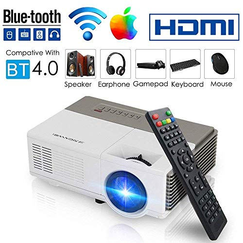 Smart Bluetooth WiFi Wireless Mini Projector LED LCD 2800 Lumen HDMI USB VGA Built-in Speaker Support 1080p HD Airplay Screen Mirror, Portable Video Projector Home Theater for Gaming Basement Outdoor]()
