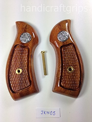 New Smith & Wesson S&w J Frame Round Butt Bodyguard Grips Checkered Hardwood Handmade #JRW05