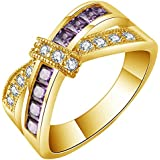 Yellow Gold Filled Gemstone Wedding Engagement Band Ring Womens Jewelry Gift ERAWAN (10 #, Gold+Purple)