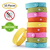 Mosquito Repellent Bracelets Natural 10 Pack, Wrcibo 100% Natural Plant-Based Oil Non-Toxic DEET Free Reusable Travel Insect Repellent Mosquito Band for Adults and Kids, Assorted Colors