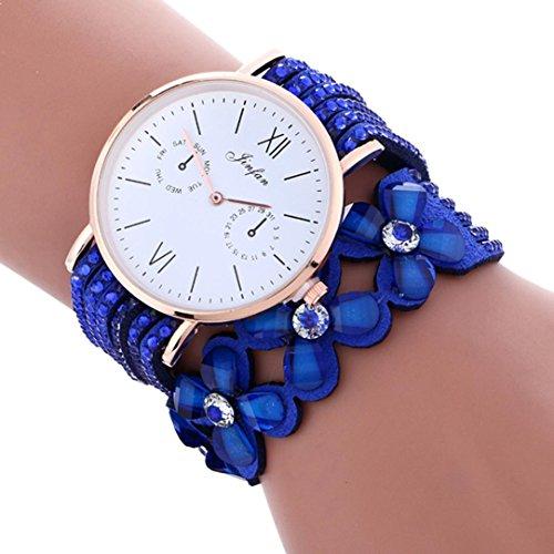 Transparent Dial Faux Leather Wrist Watch (Blue) - 8