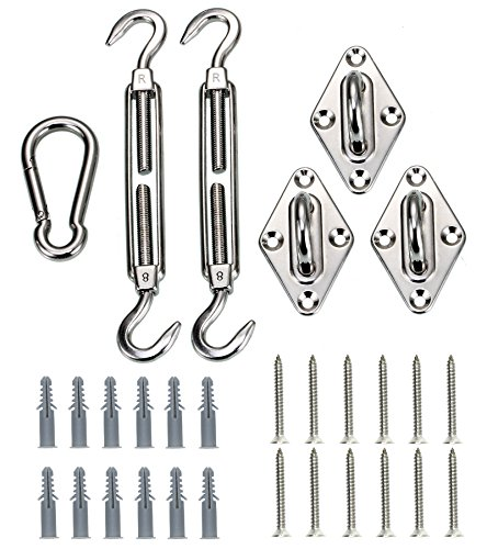 Kebinfen 8-inch Super Heavy Duty Shade Sail Hardware Kit for Triangle Sun Shade Sails, Shade Sail Accessories with Screws by Kebinfen
