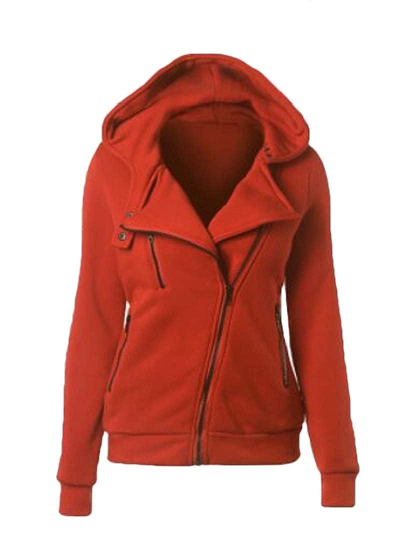 GRMO Women Fleece Casual Oblique Zipper Long Sleeve Sweatshirt Jacket Coat