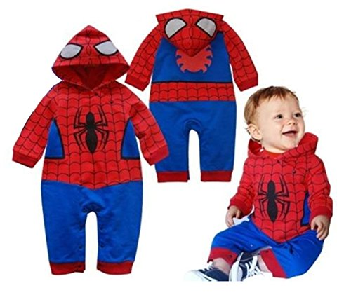 StylesILove Infant Toddler Baby Boy Spider-man Hoodie Romper Costume (90/12-18 Months) (Superheroes Outfit)
