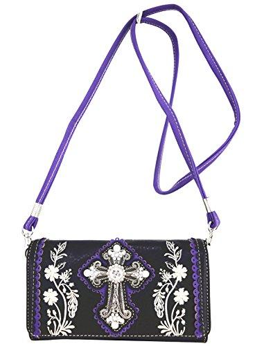 Blancho Ropa de cama Mujer [patrón clásico] Bolsa de cuero de PU Bolsa Handbad bolso elegante Wallet-morado
