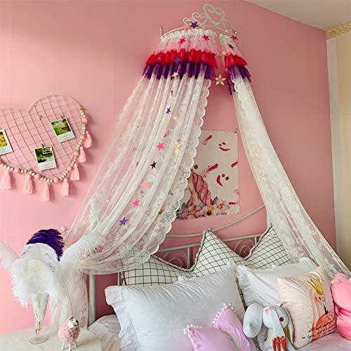 キッズベッドキャノピー,姫ベッドキャノピー 白い金属の王冠と星の寝具の装飾が付いているレースの糸のベッドのカーテン-c