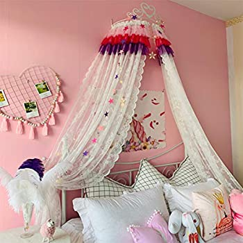 Image of Home and Kitchen GE&YOBBY Kids Bed Canopy,Princess Bed Canopy Lace Yarn Bed Curtain with White Metal Crown and Stars Bedding Decoration-c 2.0m