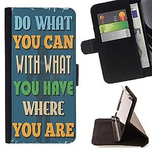 Dragon Case - FOR Samsung Galaxy S4 Mini i9190 - do what you can - Caja de la carpeta del caso en folio de cuero del tir¨®n de la cubierta protectora Shell