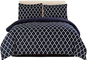 Lux Decor Collection Duvet Cover Set, 1800 Count Egyptian Quality King Soft Premium Bedding Collection, 3 Piece Luxury Soft, 2 Pillow Shams (Black/White, King/California King)