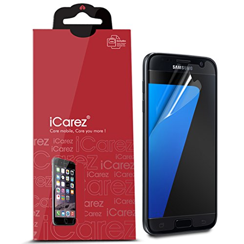 iCarez [Anti Glare] Screen Protector for Samsung Galaxy S7 (Case Friendly) [Unique Hinge Install Method with Kits ] 3-Pack with Lifetime Replacement Warranty - Retail Packaging
