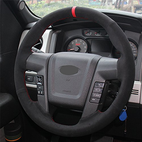 (Hand Sewing Black Suede Genuine Leather Steering Wheel Cover for 2010 2011 2012 2013 2014 Ford F150 SVT Raptor (Suede Red Thread))
