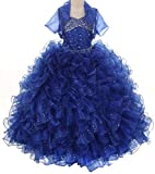 Pageant Sparkling Ruffle Wedding Prom Flowers Girl Dress Big Girls 4 - 14 Royal Blue