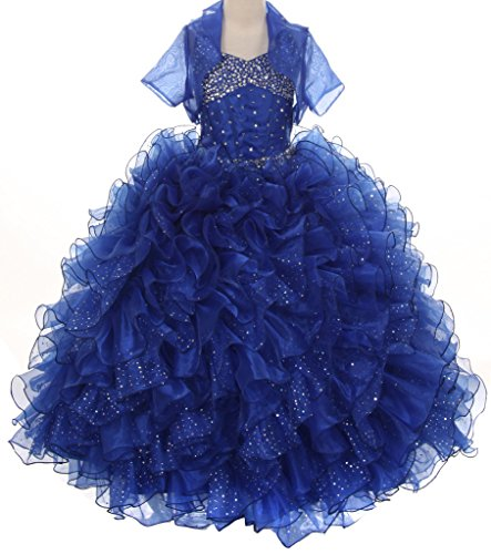 Pageant Sparkling Ruffle Wedding Prom Flowers Girl Dress Big Girls 4 - 14 Royal Blue by YNB CORNER