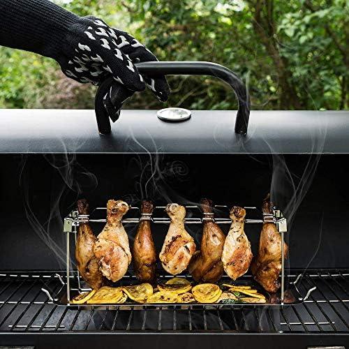 WXJHA Verticale Roaster Barbecue Stand, Ala di Pollo Leg Rack per Grill Smoker Drip Pan per la Cottura di Verdure in Barbecue Succhi - lavastoviglie Barbecue Accessori