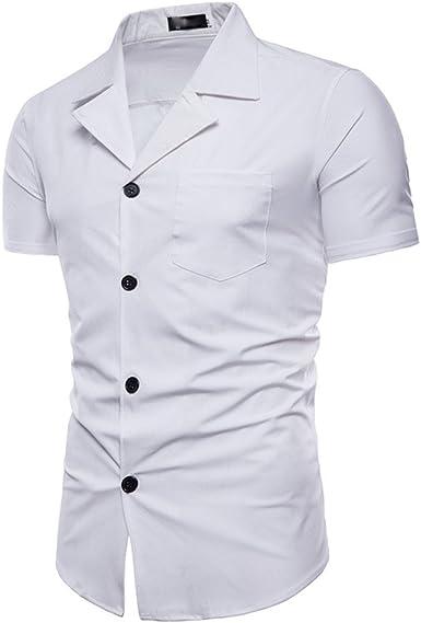 Baohooya Camisa de Los Hombres - Camisa de Manga Corta Delgada con Cuello de Traje de Hombre Slim Fit Casual Vestido de Fiesta de Boda: Amazon.es: Ropa y accesorios