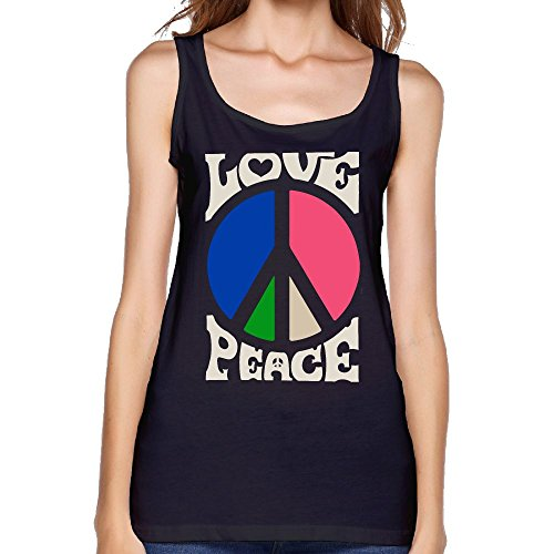 Hippie Love, Peace Signs Women Loose Fit Crew Neck T-Shirts Tank Top