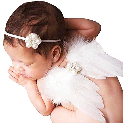 HUIXIANG Newborn Baby Photography Props Feather Angel Wings with Diamond Rhinestone Headbands for Infant Photo Prop - Newborn Angel Prop Photo Wings