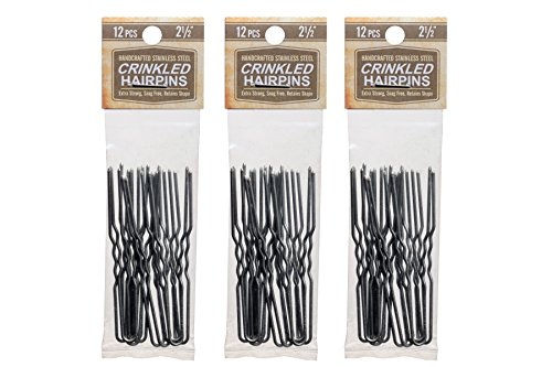 Hairpins 2.5 Inch Crinkled Stainless Steel SILVER Heavy Duty Snagless 3 Packs (36 PINS) Handmade Hair Pin