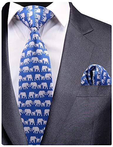 GUSLESON New Design Elephant Men Tie Blue Wedding Necktie and Pocket Square Set (0779-17)