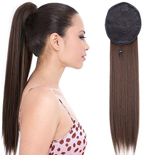 Stamped Glorious Long Ponytail Extension Straight Yaki Ponytail Drawstring Ponytail Extensions Black Mixed Brown for Women Clip in on Ponytail Hair Extensions(22 Inches 2/30#) - Yaki Pony Braids