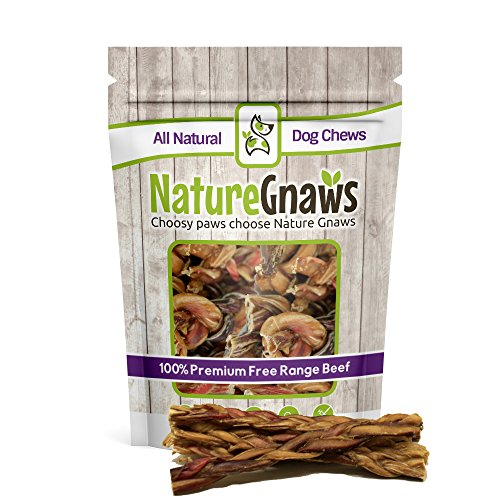 Nature Gnaws Braided Bully Sticks 5-6 (10 Pack) - 100% Natural Grass-Fed Free-Range Premium Beef Dog Chews (Grass Free Beef Range Fed)