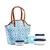 Fit & Fresh Davenport Insulated Lunch Bag Kit with BPA-Free Containers, Cobalt Floral Diamonds