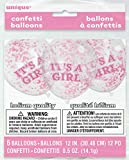 "12"" It's A Girl Pink Confetti Balloons, 6ct"