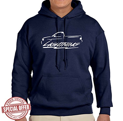 (1999-04 Ford SVT Lightning F150 Truck Classic Outline Design Hoodie Sweatshirt large navy blue)