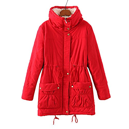lana Red de invierno de capucha de de las chaqueta mujeres de invierno abrigo de cálido sintética Abrigo con piel xUBP7fw
