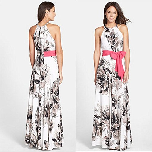 JXLOULAN Cocktail Womens manches longues col rond Parti robe de soirée Summer Beach Maxi Dress