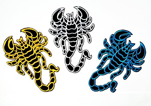 (Nipitshop Patches Set 3 Blue Yellow Black Scorpion DIY Applique Embroidered Sew Iron on Patch for Clothes Backpacks T-Shirt Jeans Skirt Vests Scarf Hat Bag)