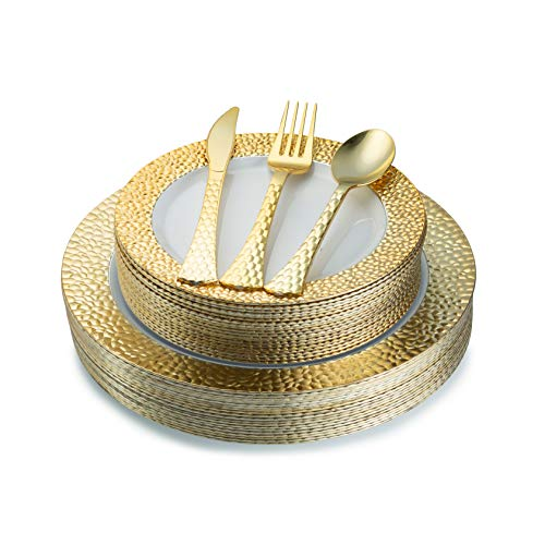 Plates Plastic Silverware (Hammered Gold Plastic Plates & Silverware Set, Elegant Plates Set (100 Piece) Service For 20 Guests Includes 20 Dinner Plates 20 Dessert Plates 20 Forks 20 Spoons 20 Knives)