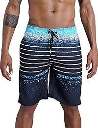4fddcadcccf6b QRANSS Men's Quick Dry Swim Trunks Bathing Suit Striped Shorts with Pockets