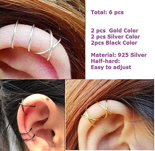 Sterling 925 Silver 6pcs No Piercing Earcuff (2 pcs Double line ,2 pcs Criss Cross ) Simple Gold Plated Fake Helix Ear Cuff Cartilage Earring Gold +Silver+Black (Cartilage Earring Cross)