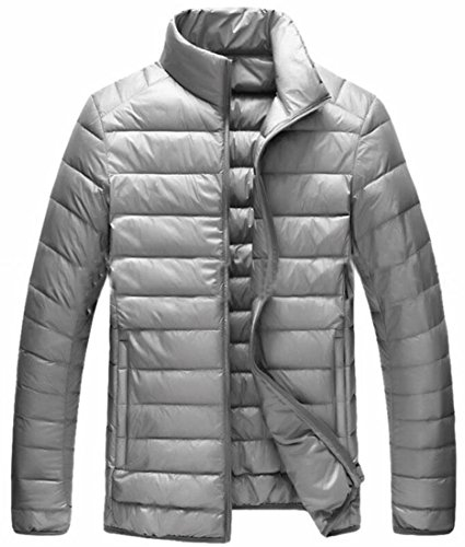 Down uk Collar Grey Men Classic Pocket Year Padded Puffer Stand Jackets Fly XUAzn