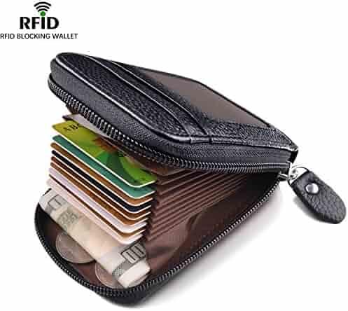 Leather Wallet Zipper RFID Credit Card Holder Protector ID Card Window Credit Card Wallet