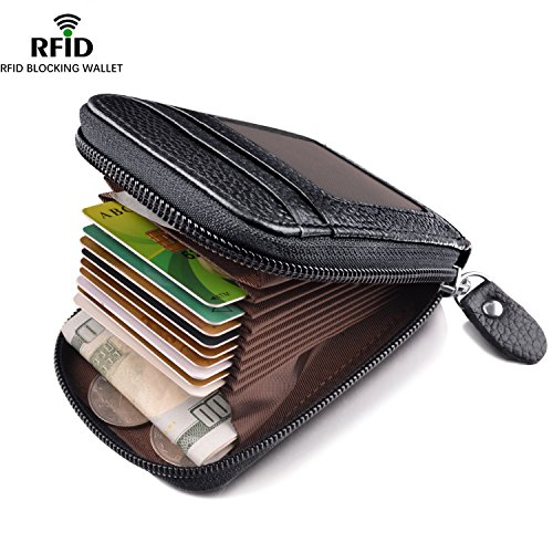 Specious RFID Blocking Wallet Credit Card Holder for Travel and Work, Genuine Leather Card Wallet for Credit Cards, Business Cards, Driver License,and Money Small Black02