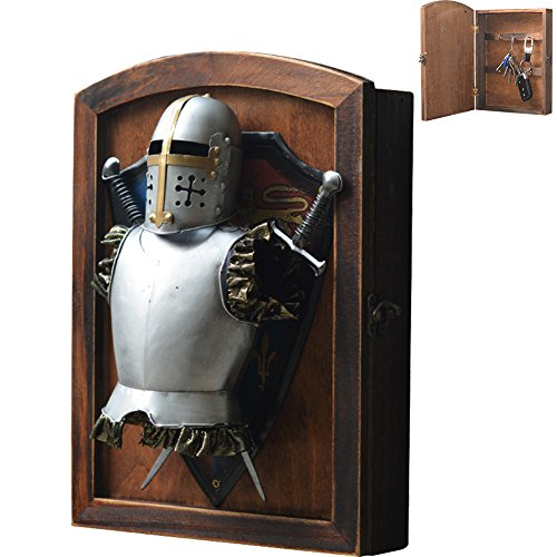 Knight Mounted Medieval - Creation Core Vintage Wood Wall Mounted Key Holder Box with 6 Hooks Rustic Entryway Organizer Metal Medieval Knight Armor Decoration