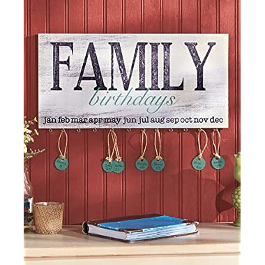 Wood Family Birthday Plaque. Wonderful Way to Keep Track of Family Birthdays. Country Style Plaque. Includes 24 Tags to Personalize with Family Members Name and the Date of Their Birthday. Tags Hang From the Loop Under the Birthday Month. Ready to Hang. 16  Wide X 8  Long