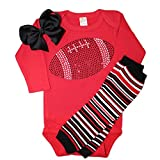 FanGarb Baby Girls Black Rhinestone Football Long Sleeve Outfit with Leg wamers & Bow