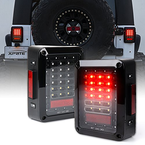 Xprite Bold Series Clear Lens Red LED Brake Tail Lights Assembly with Rear Turn Signal Reverse Lights For Jeep Wrangler JK JKU (Clear Led Rear Lights)