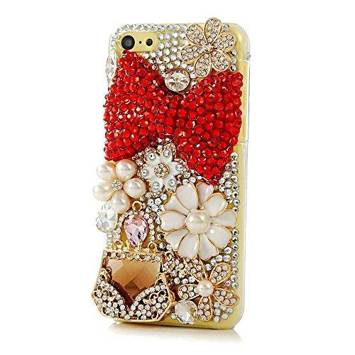 EVTECH(TM) Kristall Strasssteine Diamant Perle Blume Neu 3D DIY Handmade Bling Shining Glitter Transparent Protektiv Tasche Schutz Schale Harte Back Case Hülle Schutzhülle für Iphone 5C