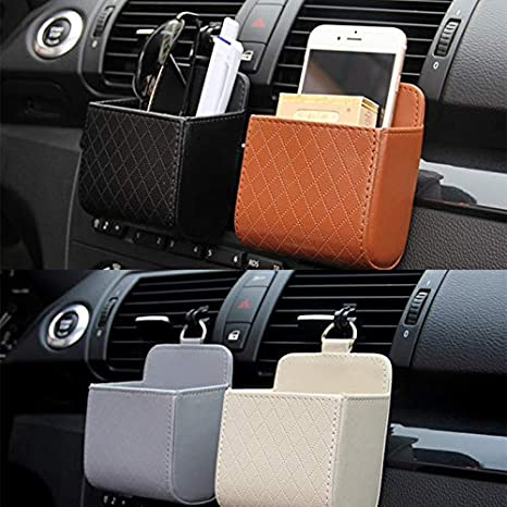 3 Colori Organizer da Appendere all/'Auto con Porta Cellulare Homeve Contenitore per la Spazzatura dell/'Auto in Pelle Sintetica