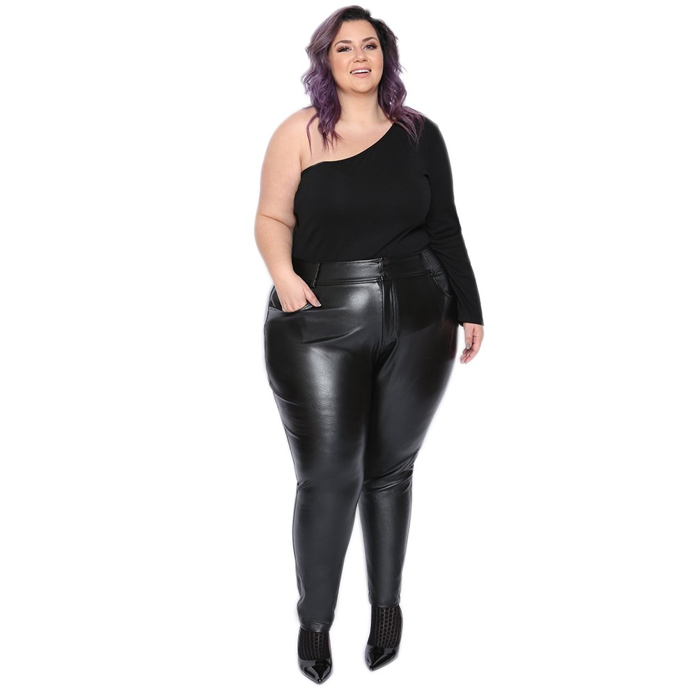 c5abea8f045 Astra Signature Women s Plus Size Sexy High Waisted PU Leather Leggings  Trousers (24W