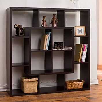 Furniture Of America Aydan Contemporary Modern Square Walnut Living Room  Display Shelf Bookcase Room Divider