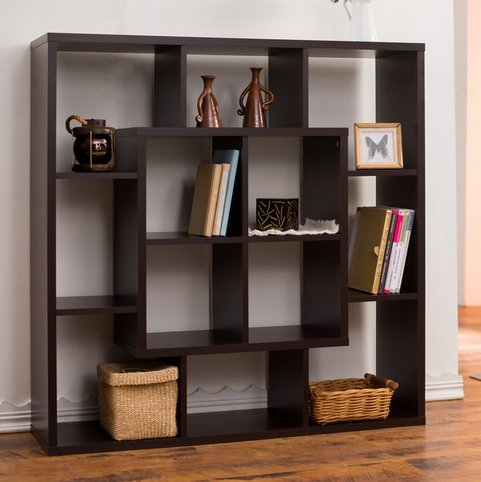 Furniture of America Aydan Contemporary Modern Square Walnut Living Room Display Shelf Bookcase Room Divider (Walnut Square Bookcase)