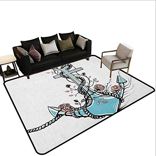 Modern Living Room with Large Carpet Anchor,Romantic Boho Design Sketch of an Old Anchor with Roses Black Ink Style, Pale Blue Pale Coral