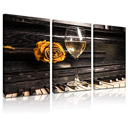 LevvArts - 3 Piece Canvas Wall Art Vintage Rose and Wine on The Piano Pictures for Wall Music Artwork Wall Decor for Living Room Gallery Wrap Ready to Hang,16x32inchx3pcs (Pictures Music Vintage)