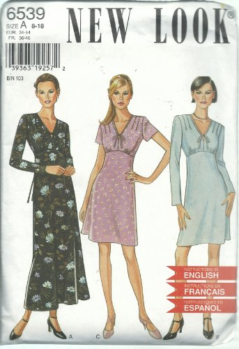 New Look 6539 Sewing Pattern Misses Dress Size 8-18
