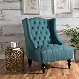 Living Room Chair Clarice | Tall Wingback Fabric Accent Chair | | Perfect For Living Room | Dark Teal